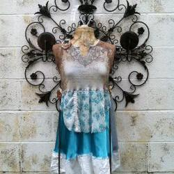 French Babydoll Eco Hippie Upcycled Dress Wearable Art
